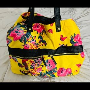Steve Madden yellow pink floral tote bag travel